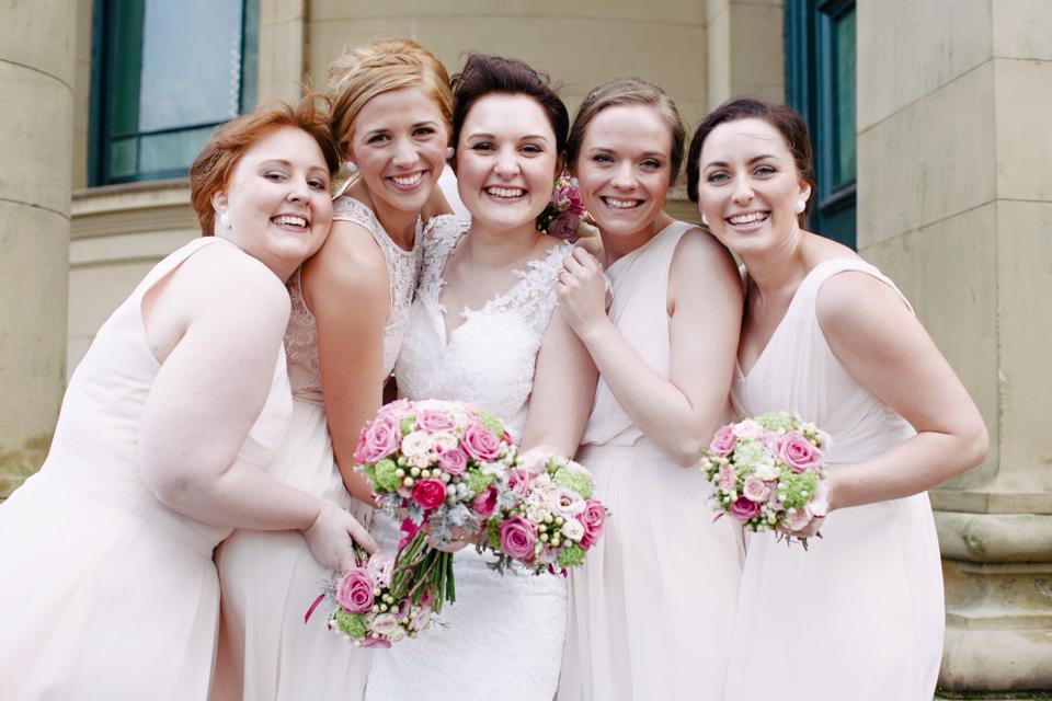 Bridesmaid bouquets pink aqua roses