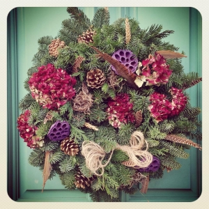 Rustic Hydrangea Christmas wreath with cones, wheat and pheasant feathers