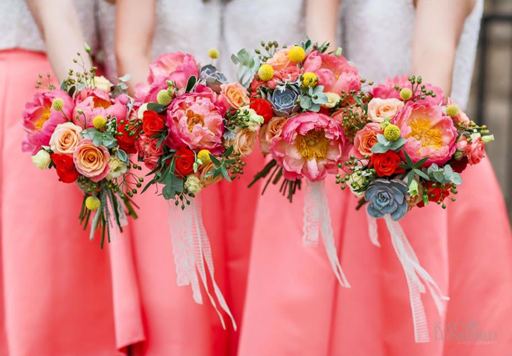 Colourful bridal bouquets