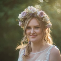 Bridal flower crown, floral headband of wax flower, cool water roses